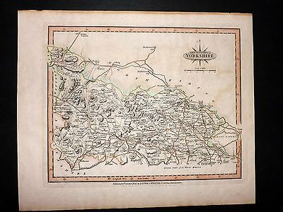 Laurie & Whittle 1807 Antique Hand Col Map. Part of the West Riding of Yorkshire
