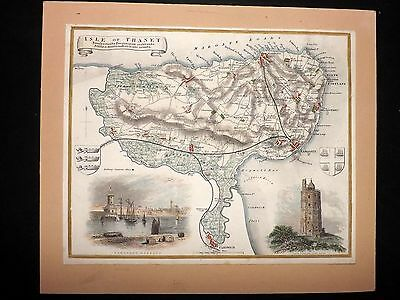 Thomas Moule C1840 Hand Col Map. Isle of Thanet. Kent