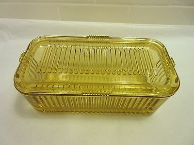 Federal Depression Glass Amber Covered Refrigerator Dish Yellow