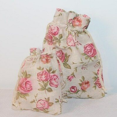 2 Linen Fabric Rose Floral Print Drawstring Pouch Gift Bags * 2 sizes 12 or 18cm