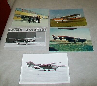 Reims Aviation Aircraft Press Photographs (4) + One Other