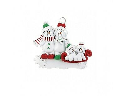 Personalised Christmas Decorations Snowman Sledge Family of 4