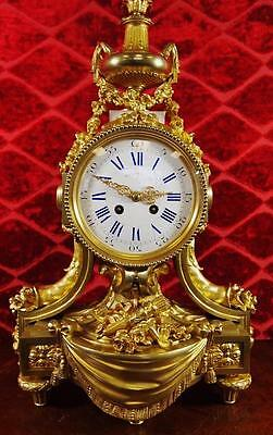 Large antique French 19th c solid gilt ormolu bronze 8 day Palace mantle clock
