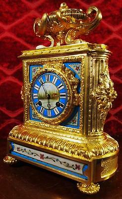 Superb antique 19th c French S.Marti gilt bronze & Sevres porcelain Mantle Clock
