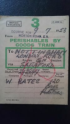 Br British Railways Wagon Label - Bourne For Morton Road Er - Nottm - 09.07.53