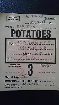 Br British Railways Wagon Label - Kirton - Nottingham - 02.07.53