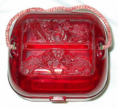 Darling Vintage Hommer KITTENS Red Plastic Sewing Box Yarn Caddy Box Kitty Cats