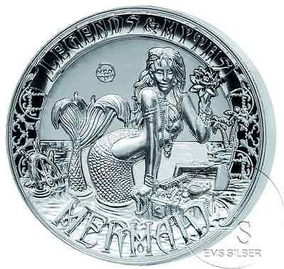 2 oz Legends and Myths Mermaid Meerjungfrau 2016 5 $ Double High Relief