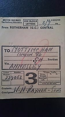 Br Tre British Railways Wagon Label - Rotherham (Gc) Central - Nottingham
