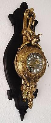 Spectacular rare antique 19th c French gilt brass 8 day bell Cartel wall clock