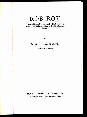 Rob Roy - How To Build A Tank Locomotive - Model Railway Book By Martin Evans