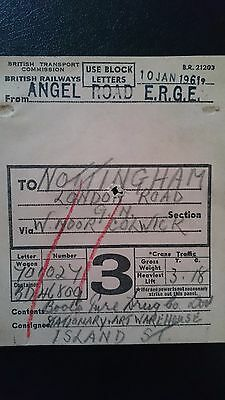Btc Br British Railways Wagon Label - Angel Road Erge - Nottingham - 10.01.61
