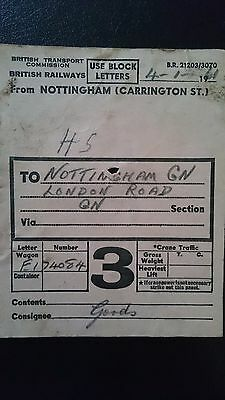 Btc Br British Railways Wagon Label - Nottm Carrington St - Nottm Gn - 04.01.61