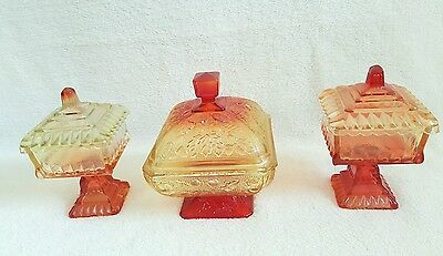 Vtg set/3 Jeannette Glass AMBERINA candy dishes diamonds acorn red yellow