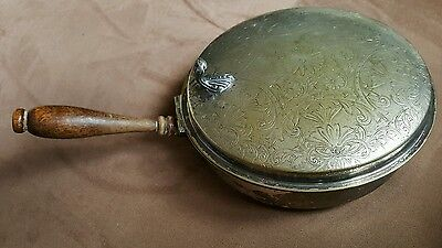 Vintage SHEFFIELD butler dish wood handle etched silverplate brass footed 1930's