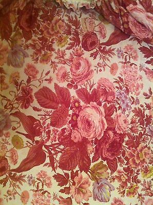 Vintage Curtains/Fabric-Linen-Pair-Country Cottage-Pink Rose
