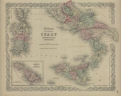 1859 J. H.ColtonSouthern Italy (Original Antique Map, with hand Color)