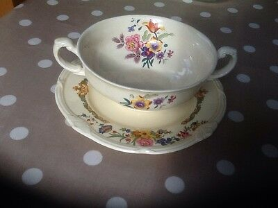 Vintage Soup Bowl And Plate By Grindley Tunstall