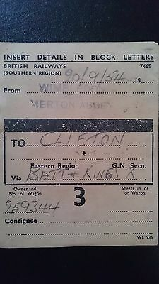 Br Sr British Railways Wagon Label - Wimbledon For Merton Abbey - Clifton