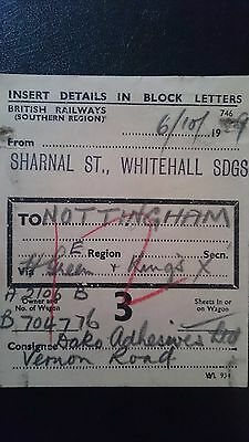 Br Sr British Railways Wagon Label - Sharnal St Whitehall Sdgs - Nottingham