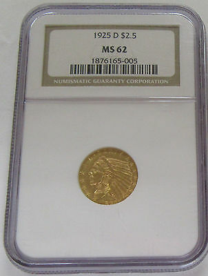 1925-D US $2.5 Gold Indian NGC MS 62 Beautiful Brilliant Uncirculated Coin!