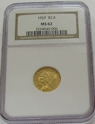 1929 US $2.5 Gold Indian NGC MS 62 Beautiful Brilliant Uncirculated Coin!