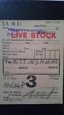 Br Wr British Railways Wagon Label - Wellington (Salop) - Nottingham - ??.03.52