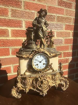 Antique 8 Day French Bronze, Ormolu & Marble Clock. Needs TLC. Open To Offers.