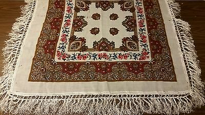 Antique Scarf table cloth Wool  Silk fringe