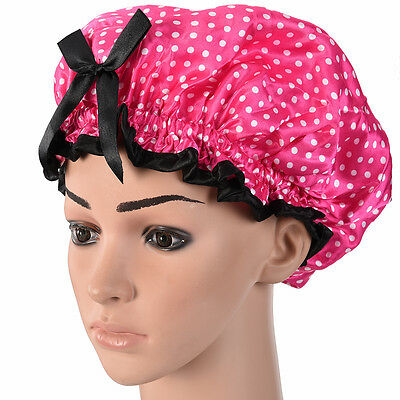 Adult Satin Shower Cap Bow Pink Polka Dot Reusable Vinly Shower Cap Extra Large