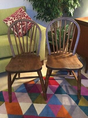A PAIR  OF MIDCENTURY AIRFIELD WINDSOR CHAIRS WAR DEPARTMENT  O.Haines Wycombe