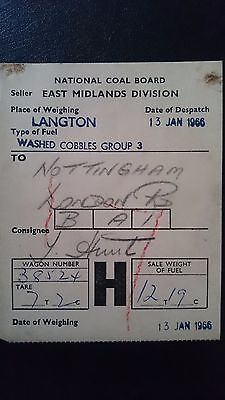 National Coal Board Ncb Wagon Label- Langton - Nottingham - 13.01.66
