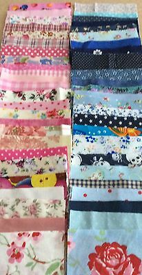 "100 Fabric Patchwork Quilting 4""/10cm Cotton Squares-Blue & pink"