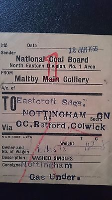 National Coal Board Ncb Wagon Label- Maltby Main Colliery - Eastcroft Sdgs