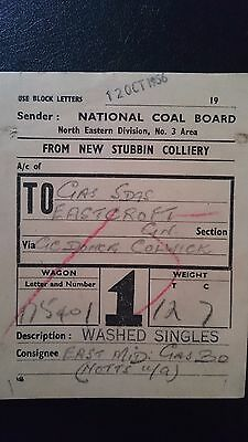 National Coal Board Ncb Wagon Label- New Stubbin Colliery - Gas Sdgs Eastcroft