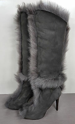 3e9efc901c6f Pedro Garcia Sully Boot Grey Suede  Shearling Lining  Open Toe Womens  Various Sz