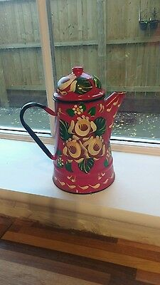 barge hand painted coffee pot