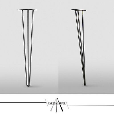 "Set of 4 Hairpin Legs - 28"" Table/desk height 3 Prong bare steel 12mm Steel"