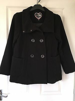 Great Cond Girls Debenhams Black Winter Coat Age 13 Years