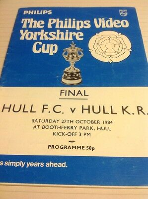 Hull F C v Hull KR yorkshire cup Final programme 1984 at Boothferry Park