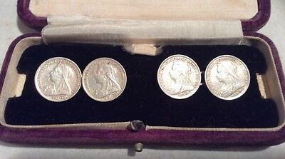 Antique Queen Victoria .925 Silver Three Pence Coins '1900' Cufflinks  Boxed