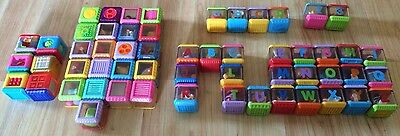 Fisher Price Peek A Boo Blocks Lot of 56 Alphabet, Numbers, Sounds, Textures