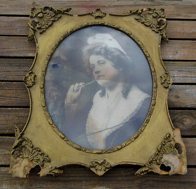Antique Ornate Carved Gold Gesso Wood Picture Frame 21 1/2 x 25 1/2 fits oval