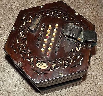 Lachenal squeeze box  concertina 48 button  Steel Reed 5 Bellow in Rosewood Case