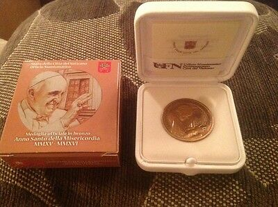 Boxed Official Vatican Bronze Medal Holy Year Of Mercy 2015-2016 Pope      (481)
