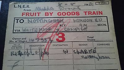 Lner Wagon Label - Middle Drove - Nottingham - 08.08.56