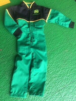 Size 1 - 2 Years John Deere Kids Childrens Overalls Coverall Boiler Suit Green