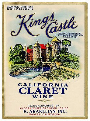 C1930S Wine Bottle Label Nos Madera California Vintage Kings Castle Claret
