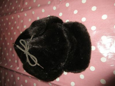 Vintage retro clothing Norwegian fur hat with fold down ear flaps 56cm