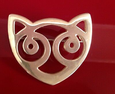Past Times Silver Cat Brooch RSE 925 Silver marks